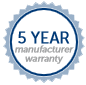 Five Year Manufacturers Warranty